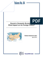 Russia's Domestic Evolution, What Impact on its Foreign Policy?