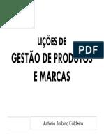 Lições de Gestão de Produtos e Marcas - 2015