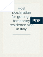 Host Declaration for getting a temporary residence visa in Italy