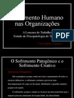 Sofrimento Humano Nas Organizações
