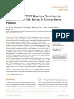 VKORC1 and CYP2C9 Genotype Variations In