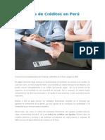 Tipos de Créditos en Perú