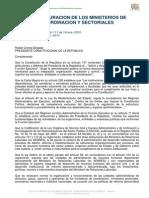 Decreto Ejecutivo 195 Organización Ministerios Coordinadores
