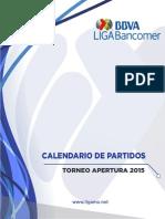 Calendario Torneo Apertura 2015