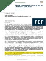Disposiciones Para Programas y Proyectos de Inversión en Planes