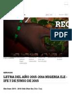Letra Del Año Nigeria Oke Itase 2015 - 2016 Ile Ife Odù Ofun Sa