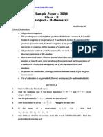 CBSE Class IX Maths Sample Paper 2009 10 (4)