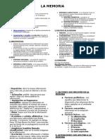 Resumen de La Memoria Psicologia Exposicion