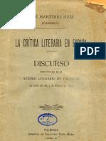 """Cándido - La critica literaria en España 1893 (José Martinez Ruiz """"Azorín"""")"""
