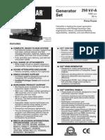 Spec Sheet - 3306 250 KVA Prime