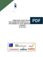 Especificación Técnica Aisladores de Porcelana, Vidrio y Poliméricos Para Redes de Media