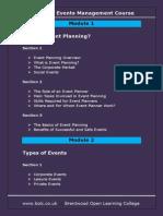 Event Management Contents