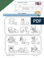 Evaluation Test - Animals, Grammar