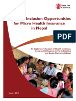 Financial Inclusion Opportunities for Micro Health Insurance in Nepal