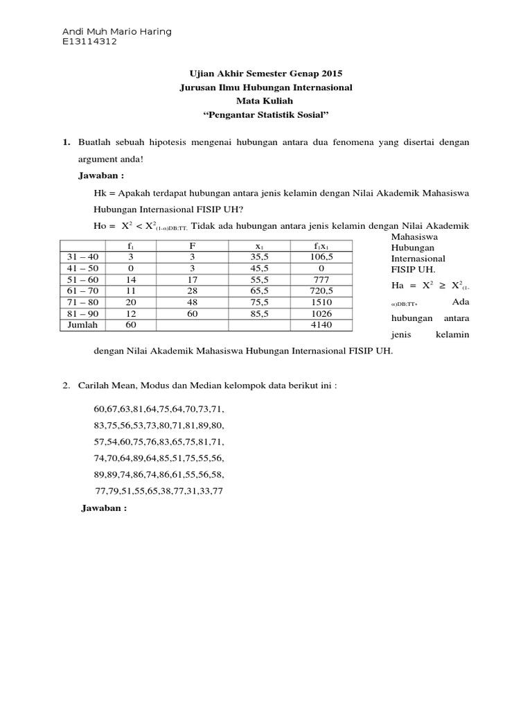 Soal Dan Jawaban Statistika