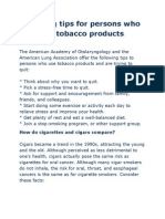 Quitting Tips for Persons Who Use Tobacco Products