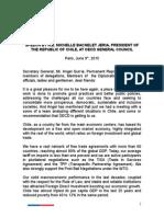 Discurso de presidenta Bachelet ante OCDE