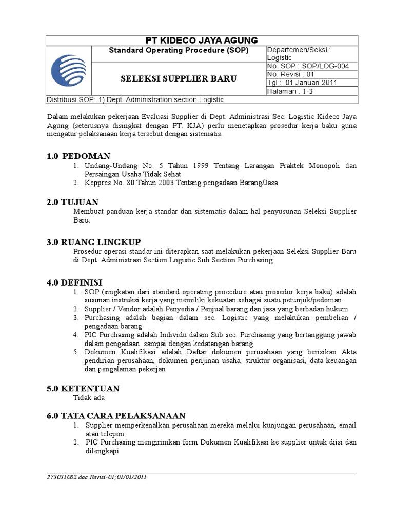 2011 Draft Sop Log 004 Seleksi Supplier Baru Rev