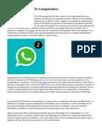WhatsApp Llega A Tu Computadora