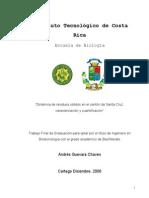 Dinamica de Residuos Solidos en El Canton de Santa Cruz