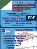 Acero Pre Y Post-Tensado en Puentes Y Edificios (Ing. Luis Villena Sotomayor)