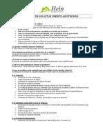 Requisitos Solicitud Credito Hipotecario