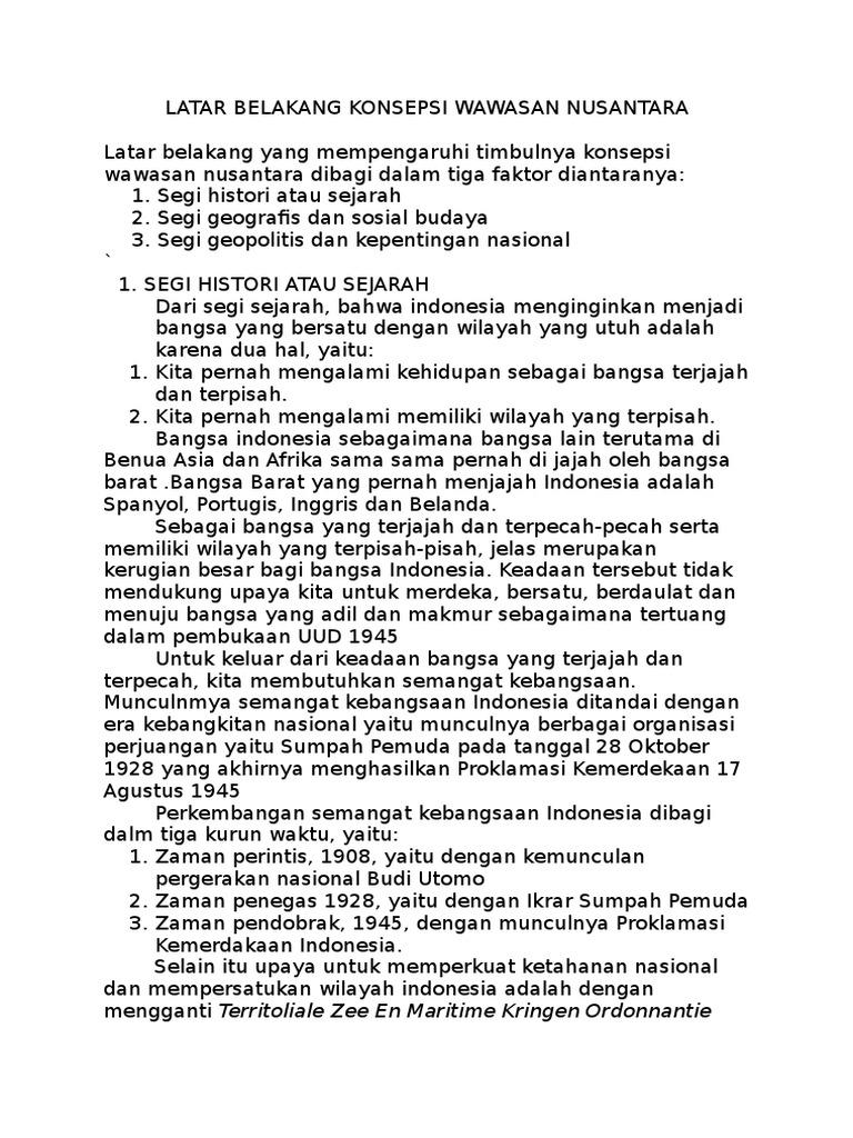 Latar Belakang Konsepsi Wawasan Nusantara Docx
