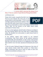 Burma Democratic Concern (BDC) welcomes the release of our Hero, U Tin Oo, Leader of 1990 Election Wining Party (NLD)