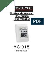 Manual Del Control de Acceso Rosslare AC015 en Español