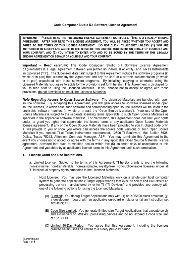 Code Composer Studio V5 1 Software License Agreement License
