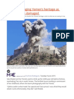 Violence Ravaging Yemen's Heritage as UNESCO Sites Damaged