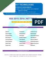 2016 Ieee .Net Software Engineering Project Titles