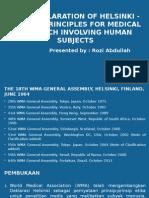 Uji Klinik 5 Masalah Etika (deklarasi hensinki)