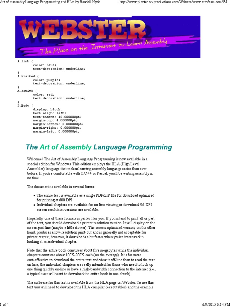 Art of Programming the Assembly Language | Portable Document