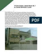 Dijual Rumah Di Citra Garden, Jakarta Barat, Rp. 1 Miliar an, 11830