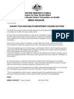 150610 Media Release o'Neill Inquiry Told Nsw Health Department Gagged Doctors