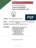 Informe de Gravedad Especifica y Absorcion de Agregado Grueso