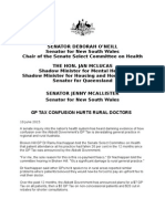 150610 Media Release o'Neill Gp Tax Confusion Hurts Rural Doctors