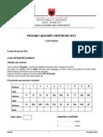 Matematike Gjimnazi 2015, Varianti B
