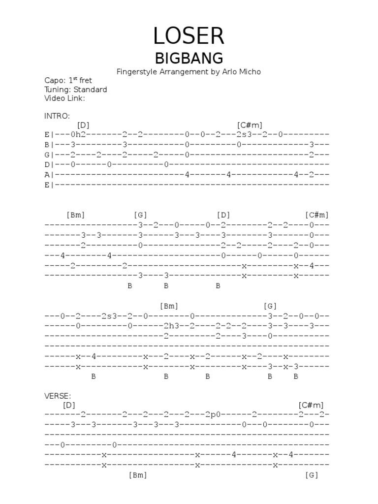 Bigbang loser fingerstyle guitar tabs hexwebz Image collections