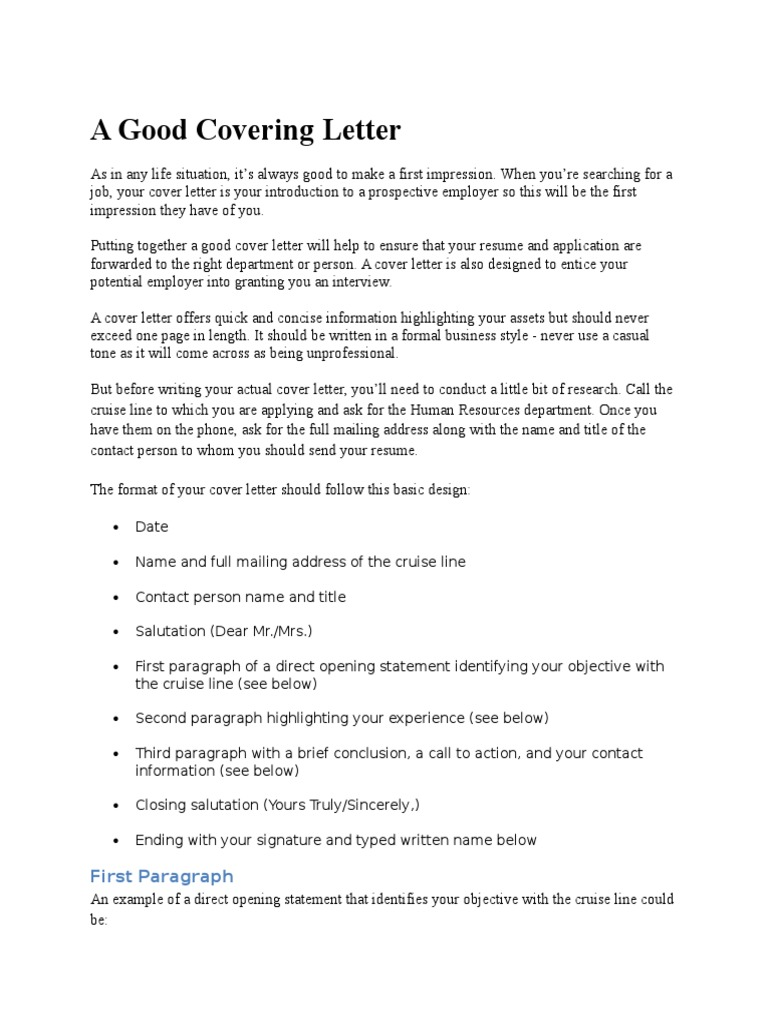 A Good Covering Letter: First Paragraph
