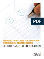 ISO 10002 GUIDELINES FOR COMPLAINT HANDLING IN ORGANISATIONS AUDITS & CERTIFICATION