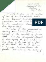 Roslyn Joffe Letter Objecting to Rasmea Odeh Prisoner Release 1979