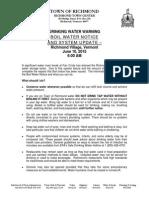 Richmond Boil Water Notice 6-10-2015