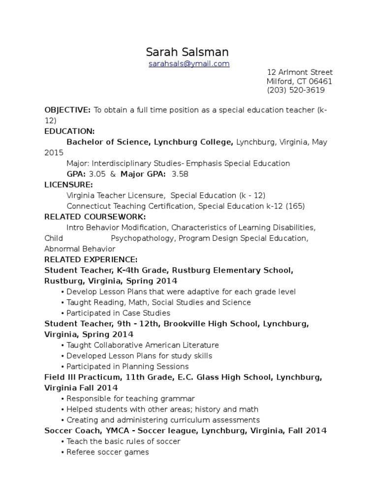 Resume Salsman Special Education Teachers