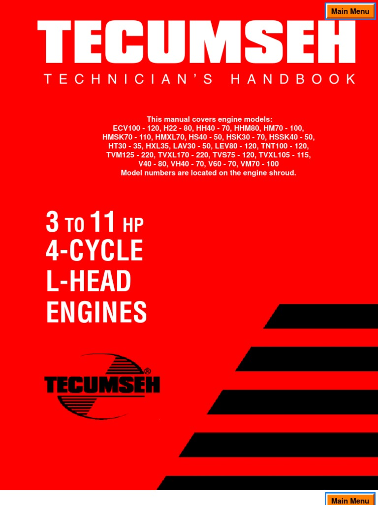tecumseh lev80 lev120 4 cycle l head engine full service repair manual
