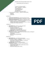 Calendario de Evaluaciones Junio 2015