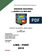 Informe de Quimica Orgánica N° 5 Extracción