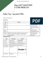 Daftar Tag – Tag Pada HTML