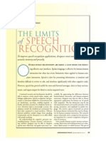 The Limitation of Speech Recognition